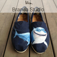 2013 Christmas Gift-Shark,Large shark,Shark Shoes,Studio Hand Painted Shoes ,Canvas Shoes,100% Hand Painting-Wen's fashion shoes,Flat Shoes