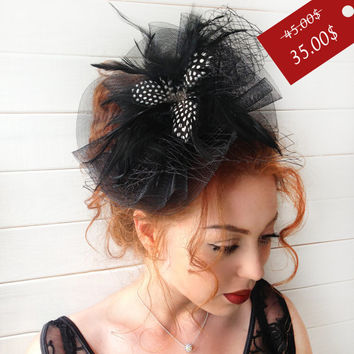 Black Fascinator - Black Wedding Fascinator Hat, Tea Party Hat - Kentucky Derby Hat - British Hat Fascinator Headband