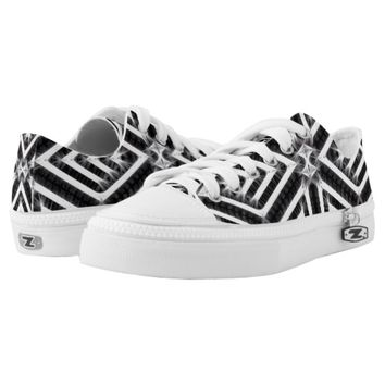 Black and White Energy Diamond Pattern Low-Top Sneakers