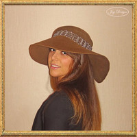 Women's Millinery Couture 100% Wool Felt Floppy Brim Hat in Taupe With A French Antique Metallic Trim and Vintage Beaded Applique