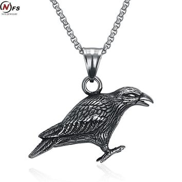 Crow Pendant Antique Silver Stainless Steel Raven Totem Necklace Celtics Viking Bird Jewelry Pagan