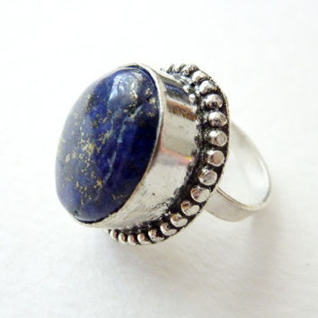 Statement Ring. Lapis Lazuli. Handmade Bohemian Vintage Jewelry. Adjustable!