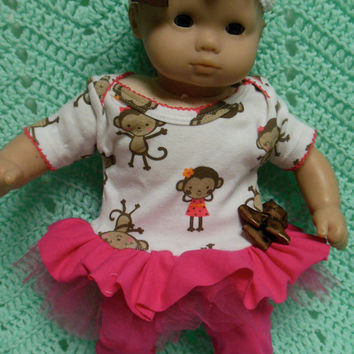 "AMERICAN GIRL Bitty Baby Clothes ""Barrel of Monkeys"" (15 inch) doll outfit top dress, diaper cover, booties/ socks, and headband"