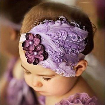 DCCKM83 Drop shipping New Flower Cotton  Hairbands Girls Headband Cute Hairband  Light Purple Feather Hair Accessories #LSIN