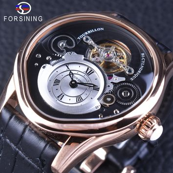 Forsining Rose Gold Tourbillion Design 316 Full Stainless Steel Case Genuine Leather Men Mechanical Watch with Automatic Winding