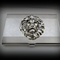 Lion head business card holder-credit card holder-stainless steel card holder-gothic card holder-steampunk business card holder