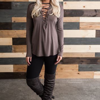 Declan Lace Up Top (Tobacco)