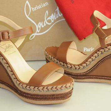 NEW CHRISTIAN LOUBOUTIN Duplice 120 Cognac Espadrille Wedge Sandals Shoes 41