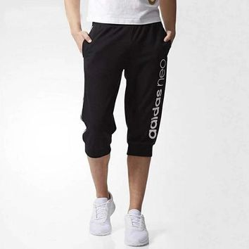 Adidas men's trousers summer sports seven-point knitted casual pants with long mid-cut trousers