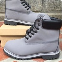 Timberland Rhubarb boots for men and women shoes waterproof Martin boots lovers Grey-black
