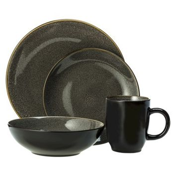 Threshold™ Cambridge Reactive Round 16 Piece Stoneware Dinnerware Set - Gray