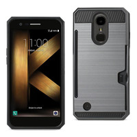 Reiko REIKO LG K20 V/ K20 PLUS SLIM ARMOR HYBRID CASE WITH CARD HOLDER IN GRAY