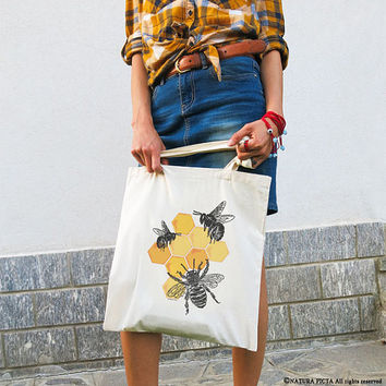 Bee tote bag-honey bee tote bag-save bees tote bag-insect tote bag-tote bag-grocery tote bag-shopping bag-bees tote bag-NATURA PICTA NPTB097