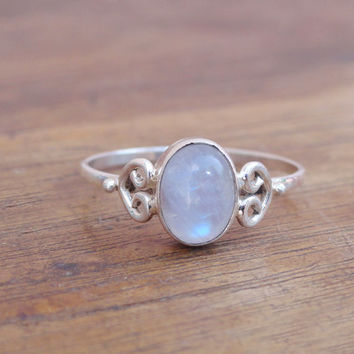 Natural Blue Moonstone Ring, Sterling Silver Moonstone Ring, Desinger Moonstone Gemstone Ring, Rainbow Silver Ring Size US 8 moon stone ring