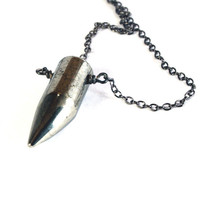 Pyrite Spike Necklace - Mens Jewelry / Unisex Jewelry -  pyrite gemstone bullet / horn