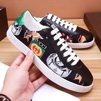"""Hot Sale """"Gucci"""" Popular Men Comfortable Flat Sports Shoes Sneakers Black I-OMDP-GD"""
