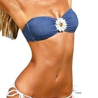 MLS Women's Swimwear Swimsuit Flower Halter Bandeau Wireless Padded Push Up Denim Bikini Sets-M