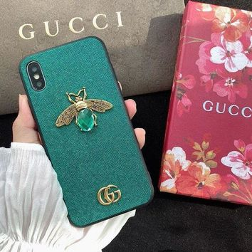 GUCCI Trending Chic Bee GG Case for iPhone XS Max/XR 7P 6S