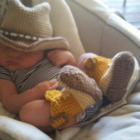 Gold and Tan Cowboy Boots and Hat for Baby
