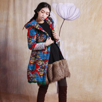 winter warm cotton-padded jacket / coat long winter linen coat--2