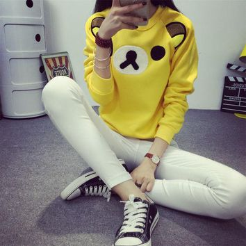 LMFUS4 2016 Women Cartoon Rilakkuma Pullovers Cute Hoodies Female Superman Minions Animal Kawaii Hoody Plus Size Girls Student Clothes