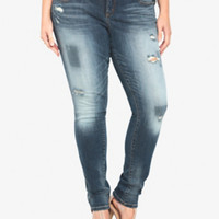 Torrid Skinny Jean - Medium Wash with Destruction (Tall)