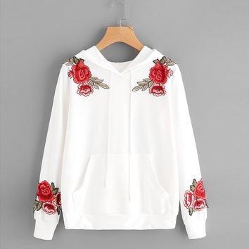 Fashion White Blouse Womens Long Sleeve Rose Embroidery Applique Hoodie Hooded Tops High Quality Cotton Blusas