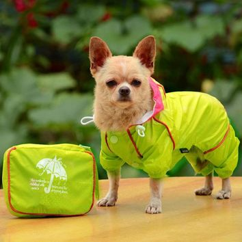 Waterproof raincoat jumpsuit for small dogs