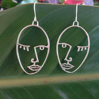 Picasso Face Wire Earrings With A FREE GIFT BOX Ready To Give
