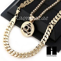 "ICED OUT QC ROUND TENNIS CHAIN DIAMOND CUT 30"" CUBAN LINK CHAIN NECKLACE S046"