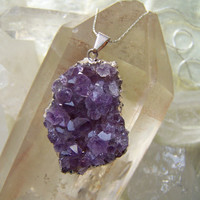 Raw Purple Amethyst Druzy Sterling Silver by VictoryJewelry