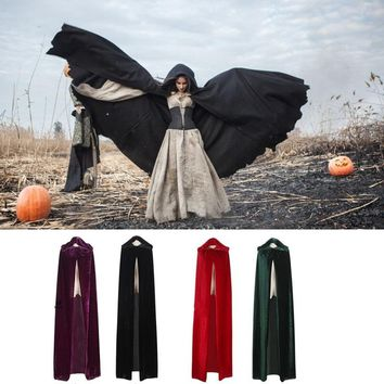 170 Cm Woman Adult Medieval Renaissance Style Witch Cloaks Cloaks Hood and Capes Costumes for Women Men