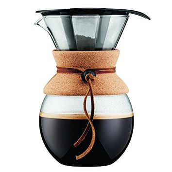Bodum Coffee Maker, Pour Over Coffee Maker with Permanent Filter, Cork Band, 34 Ounce