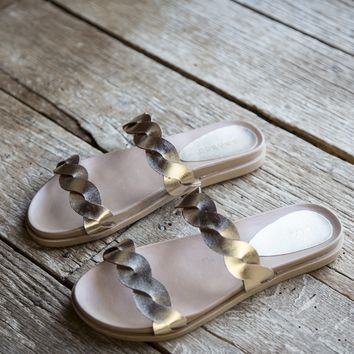 Mission Twisted Band Sandals, Gold