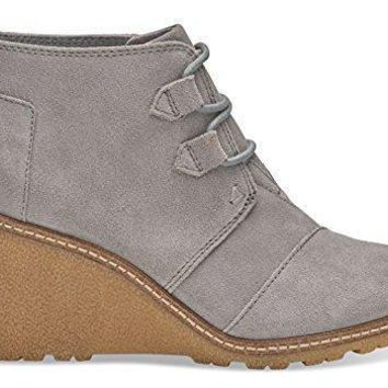 TOMS Women's Suede Crepe Desert Wedge in Drizzle Grey