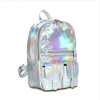 DICOOL Hotselling Fashion Hologram Backpack For School Student  Women's Laser Silver Color Holographic Bag