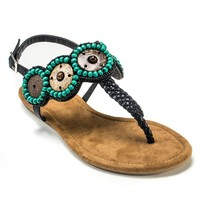 MUK LUKS Harper Women's Beaded Thong Sandals (Black)