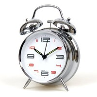 "JustNile 4"" Bedside Alarm Clock with Backlight - Trendy Silver Frame with White Clock Face"