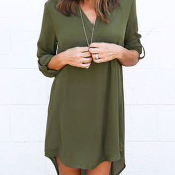Autumn Fashion V-neck Long Sleeve Plus Size Midi Chiffon Dress Long in Back Short in Front