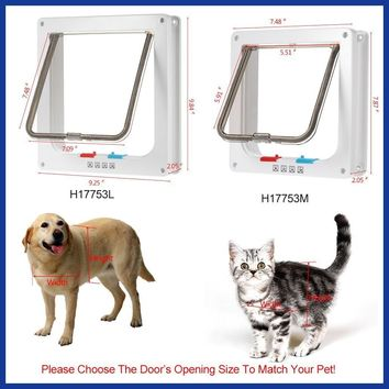 4-Way Locking Pet Door W/ Smart switches keep the house door Cat Puppy Dog Supplies Lock Lockable Safe Flap Gates go in/out free