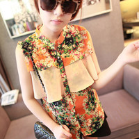 Sleeveless Floral Print Vintage Style Chiffon Shirt Top