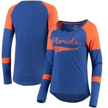 ESBON NCAA Florida Gators Colosseum Women's Routine Raglan Henley Long Sleeve T-Shirt