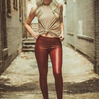 Burgundy Vegan Leather Leggings