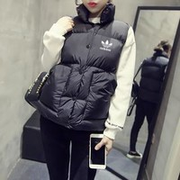 """Adidas"" Women Fashion Sleeveless Cardigan Bread Down Coat Cotton-padded Clothes Vest Jacket"