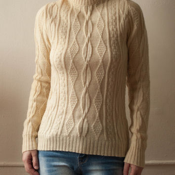 Vintage Cream 1970s/1980s Virgin Wool Aspen Alpine Funnel Neck Geometric Cable Knit Pullover Fisherman's Sweater