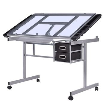 Adjustable Rolling Drawing Desk Drafting with Table Tempered Glass Top This is our brand new drafting table, which is perfect for any office or home work area.