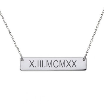 "14k White Gold Roman numeral bar necklace 1"" inch 14k solid white gold pendant Personalize nameplate with Anniversary or birthday dates"