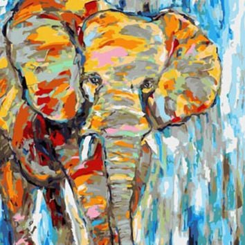 DRAWJOY Framed Pictures DIY Oil Painting By Numbers Painting&Calligraphy Home Decoration Wall Art Of Elephant