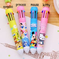 B26 10 Colors Creative Stationery Hello Kitty Kawaii Ballpoint Pen Office School Supplies Pens Material Escolar Papeleria