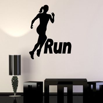 Vinyl Wall Stickers Run Running Girl Woman Sport Motivation Decal Mural Unique Gift (187ig)